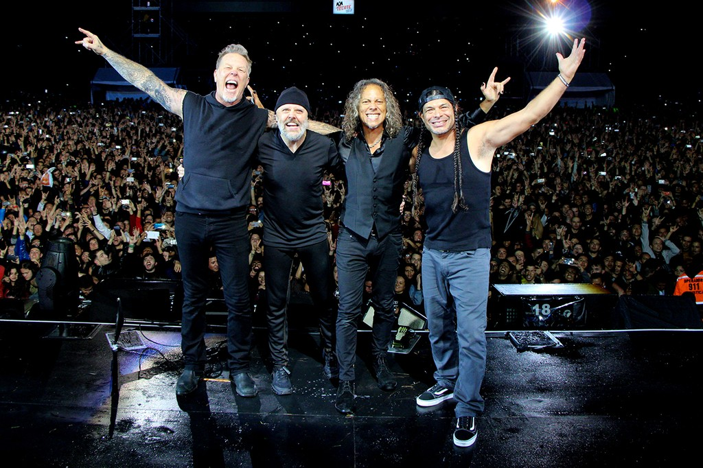 James Hetfield, Lars Ulrich, Kirk Hammett, and Robert Trujillo of Metallica perform at Hipodromo de Los Andes on Nov. 1, 2016 in Bogota, Colombia.