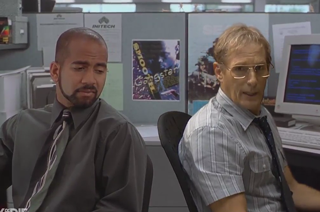 "Ajay Naidu as Samir Nagheenanajar and Michael Bolton as Michael Bolton in Funny or Die's ""Office Space"""