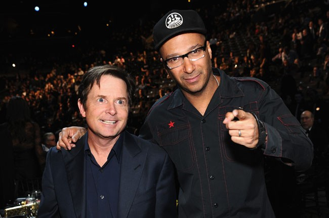 Michael J. Fox and Tom Morello at the 2014 Rock And Roll Hall Of Fame Induction Ceremony