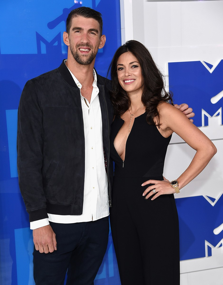 Michael Phelps and Nicole Johnson attends the 2016 MTV Video Music Awards