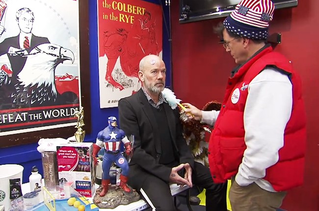 michael-stipe-rem-stephen-colbert-report-25cents-yardsale-dec-2014-billboard-650