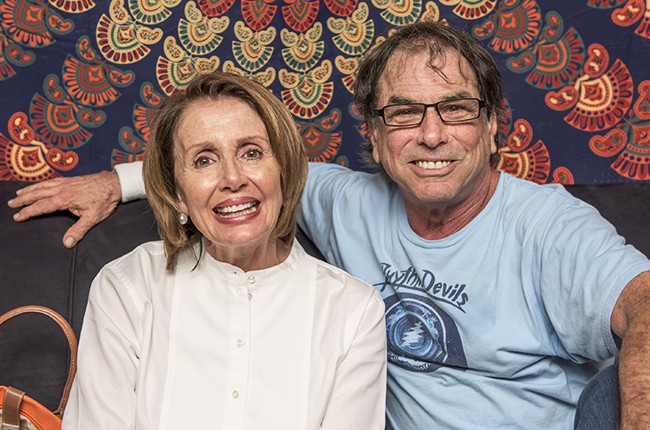 """Mickey Hart with Nancy Pelosi at the Grateful Dead's """"Fare The Well"""" concert at Levi's Stadium on June 27, 2015 in Santa Clara, Calif."""