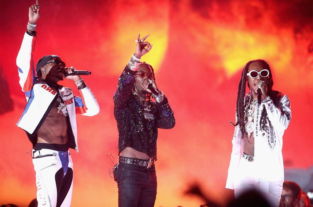 Quavo, Offset and Takeoff of Migos perform onstage at 2017 BET Awards at Microsoft Theater on June 25, 2017 in Los Angeles.