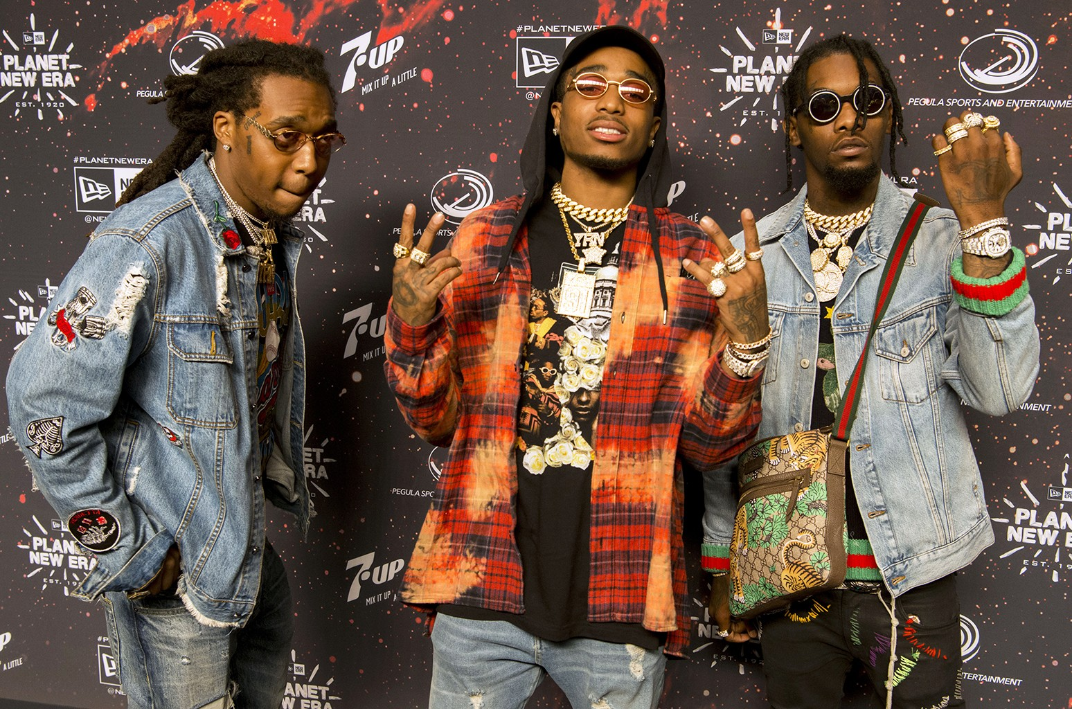 Migos attend New Era's Super Bowl party on Feb. 3, 2017 in Houston.
