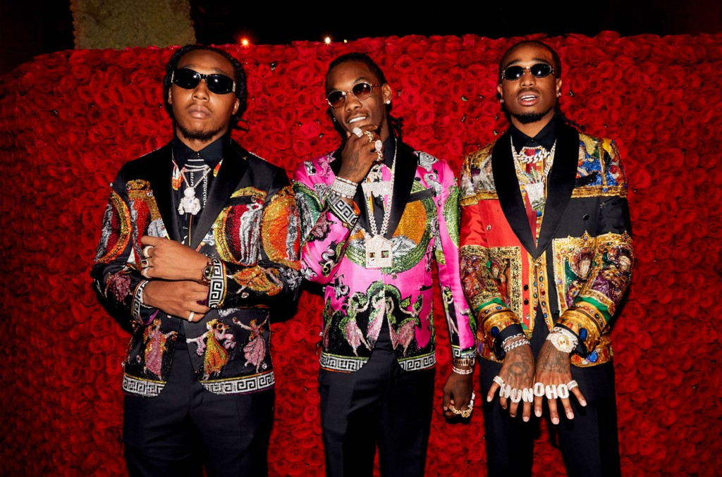 Offset, Takeoff and Quavo of Migos attend Heavenly Bodies: Fashion & The Catholic Imagination Costume Institute Gala at The Metropolitan Museum of Art on May 7, 2018 in New York City. Photo by Taylor Jewell/Getty Images for Vogue.
