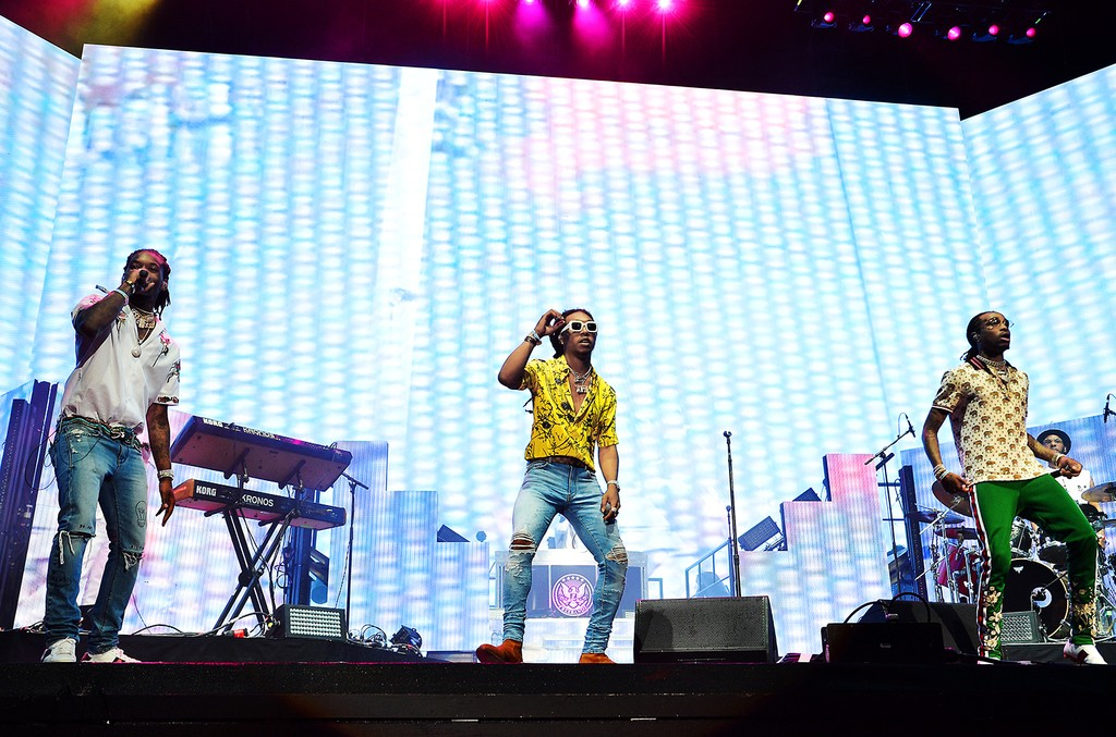 Offset, Takeoff and Quavo of Migos perform on the Coachella Stage during day 2 of the Coachella Valley Music And Arts Festival (Weekend 1) at the Empire Polo Club on April 15, 2017 in Indio, Calif.