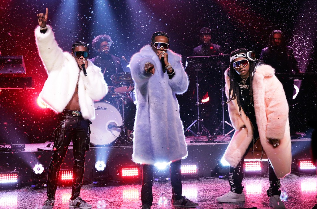 Migos perform on 'The Tonight Show Starring Jimmy Fallon' on March 23, 2017.