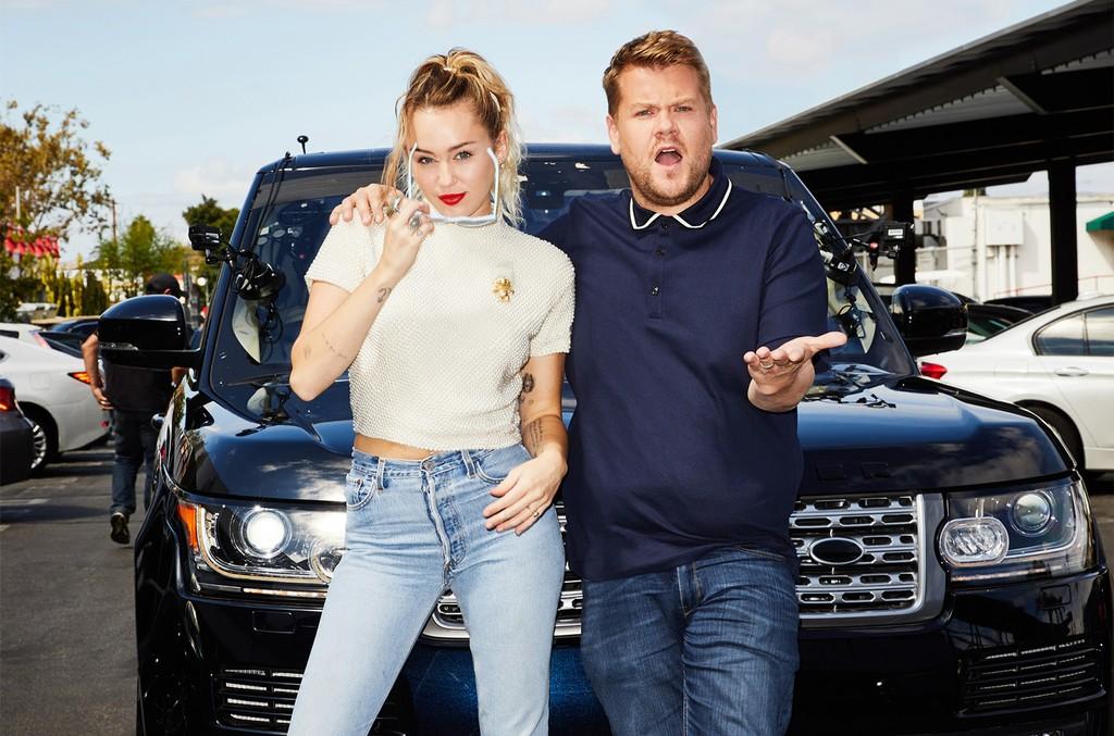 Miley Cyrus and James Corden perform in a Carpool Karaoke