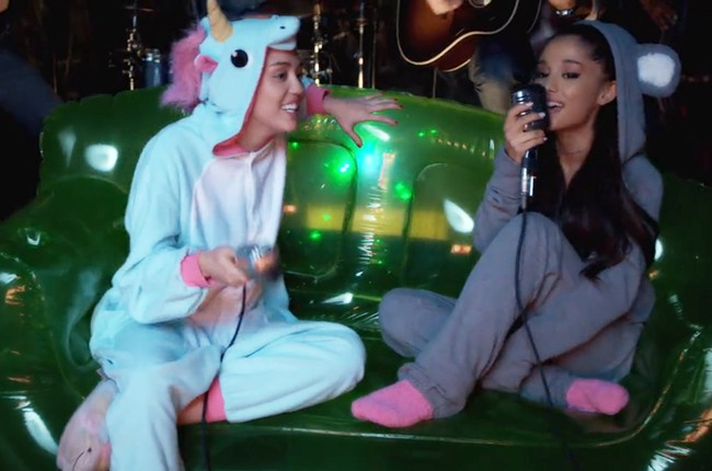 "Miley Cyrus and Ariana Grande sing ""Don't Dream It's Over"" in a video for The Happy Hippie Foundation"