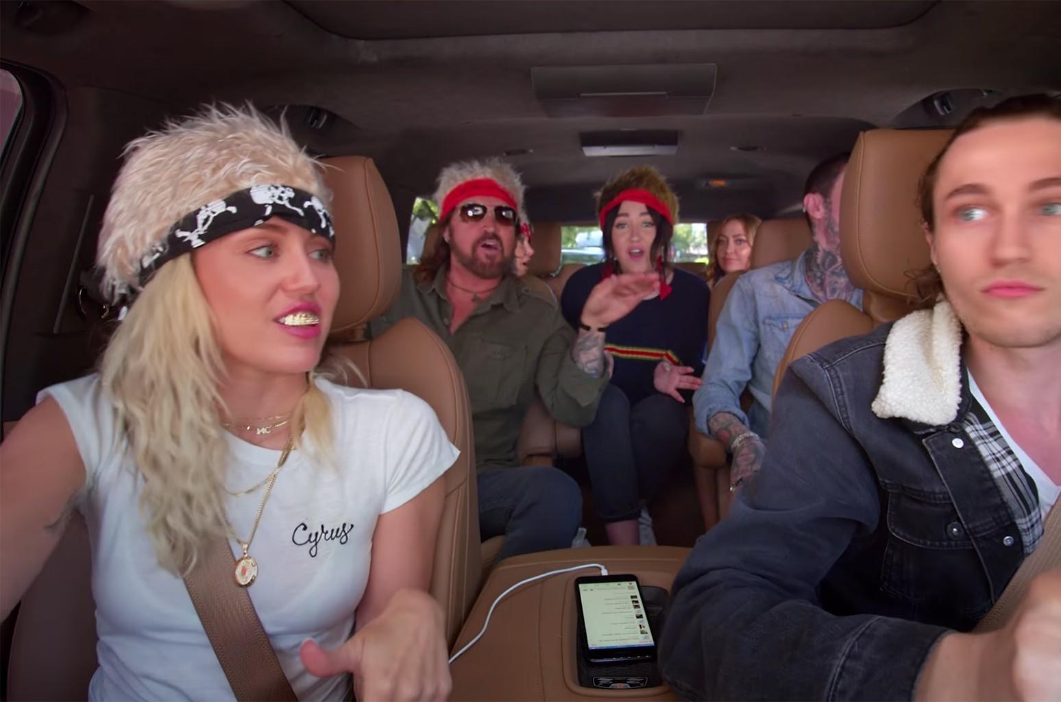 "The Cyrus Family in ""Carpool Karaoke"" Apple Music series."