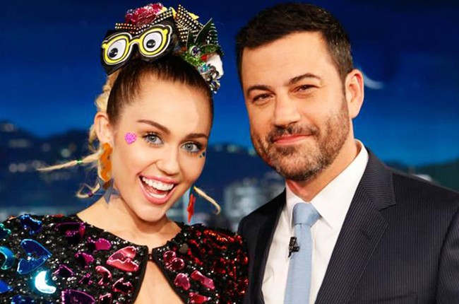 """Miley Cyrus with Jimmy Kimmel during the Aug. 26, 2015 taping of """"Jimmy Kimmel Live."""""""