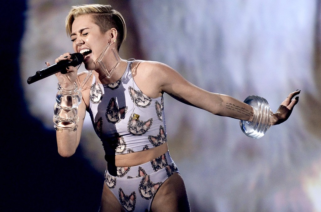 Miley Cyrus performs during the 2013 American Music Awards at Nokia Theatre L.A. Live on Nov. 24, 2013 in Los Angeles.