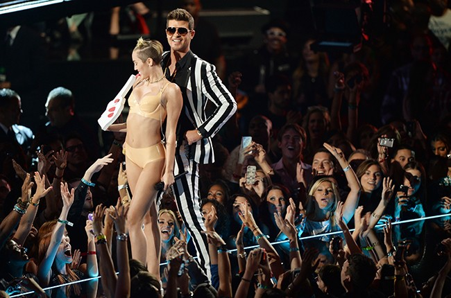 Miley Cyrus Gets Furry Teams With Robin Thicke For Blurred Lines At Mtv Vmas Billboard
