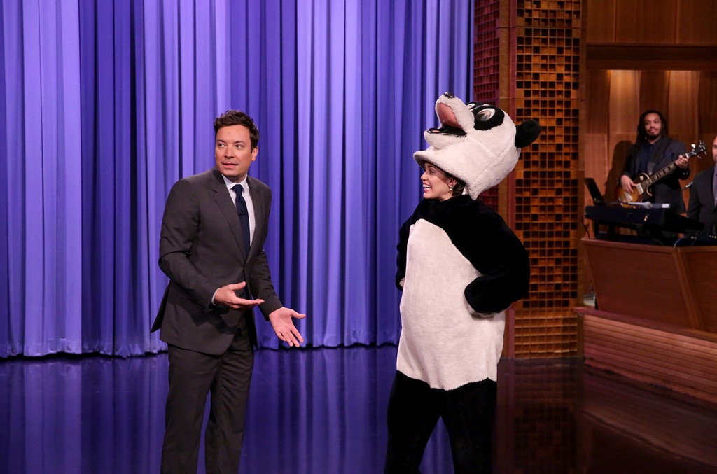 Jimmy Fallon with Miley Cyrus as Hashtag the Panda during the opening monologue of The Tonight Show Starring Jimmy Fallon on May 17, 2017.