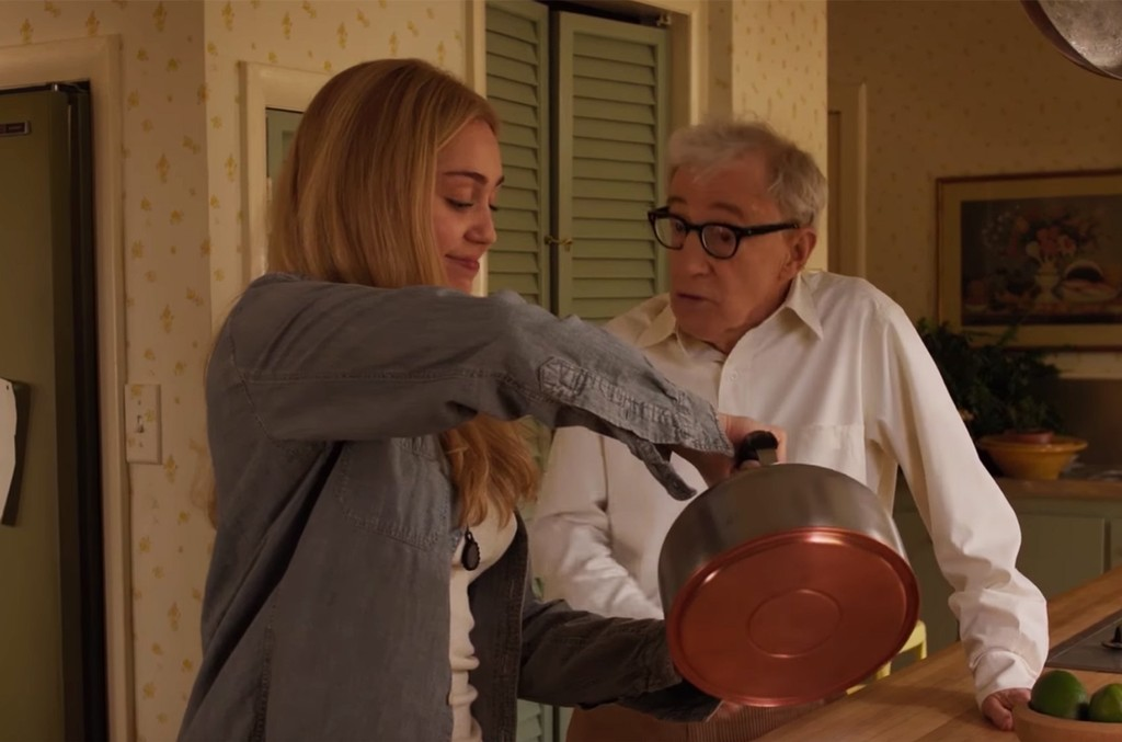 Miley Cyrus and Woody Allen in Crisis in Six Scenes trailer.