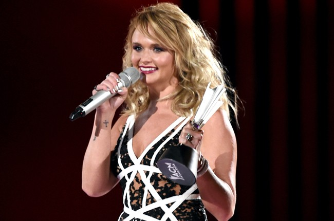 "Miranda Lambert accepts the award for Song of the Year for ""Automatic"" onstage during the 50th Academy Of Country Music Awards"