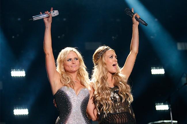 Miranda Lambert and Carrie Underwood perform at the CMA Music Festival