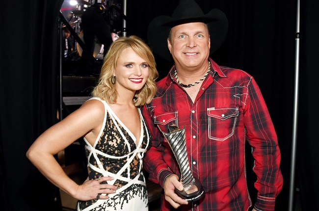 Miranda Lambert and Garth Brooks attend the 50th Academy Of Country Music Awards