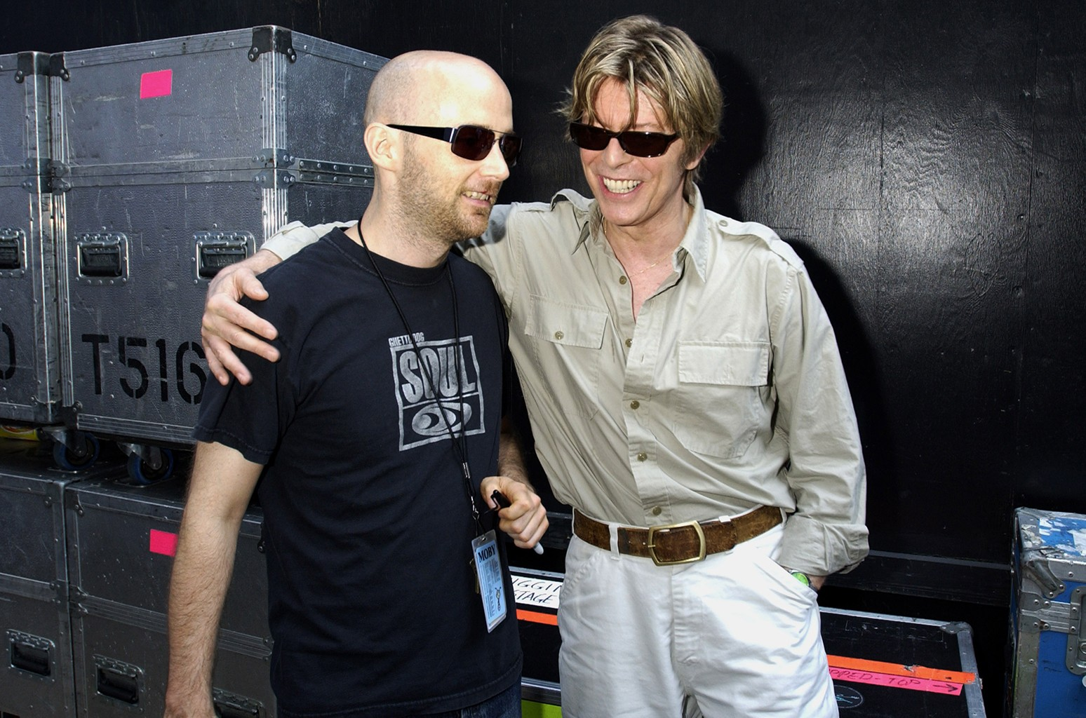 Moby and David Bowie photographed at Jones Beach Theater Wantagh, N.Y.