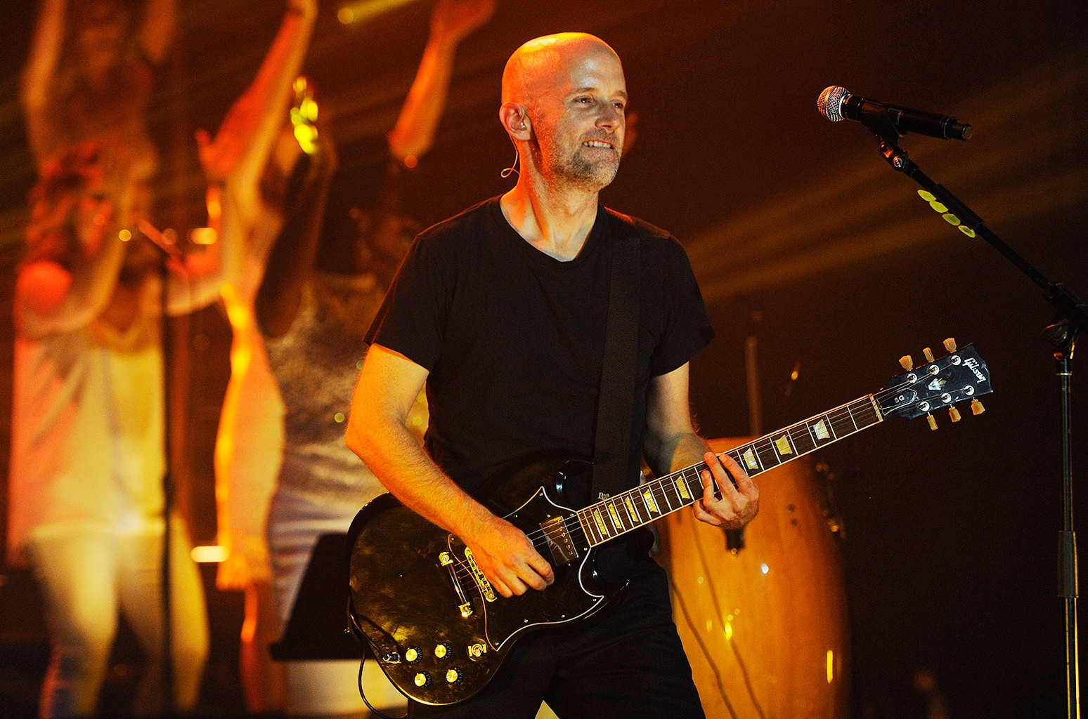 Moby performs with his band at The Fonda Theatre on Oct. 3, 2013 in Los Angeles.