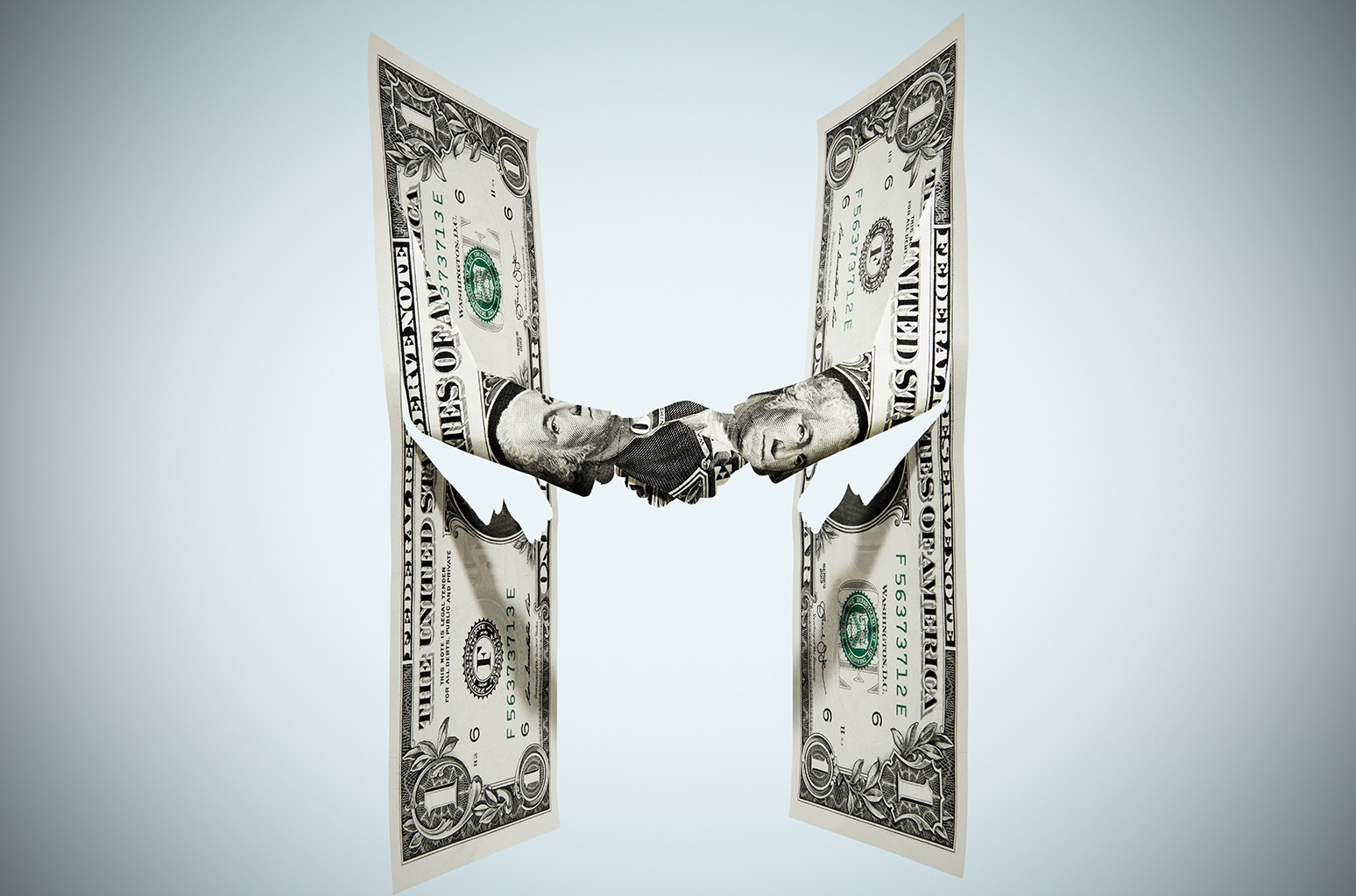Dollar Bill Shaking Hands