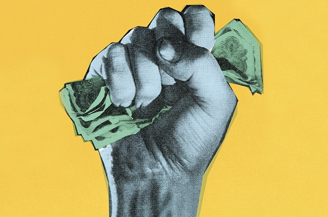 money protest power fist fight illo