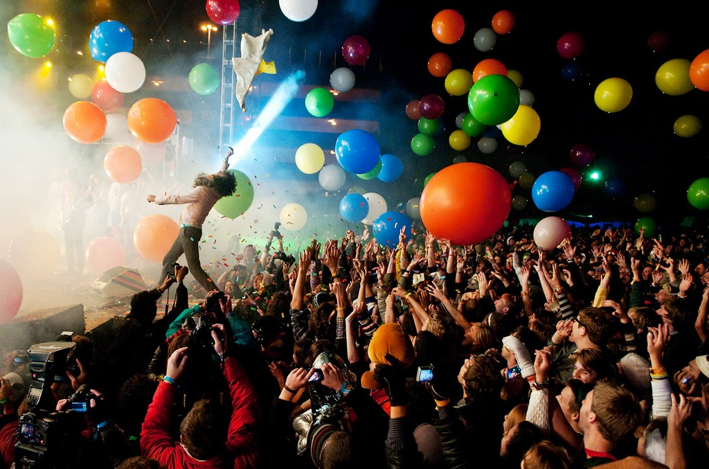 Wayne Coyne performs with The Flaming Lips during Moogfest 2011 at the Animoog Playground on Oct. 29, 2011 in Asheville, North Carolina.