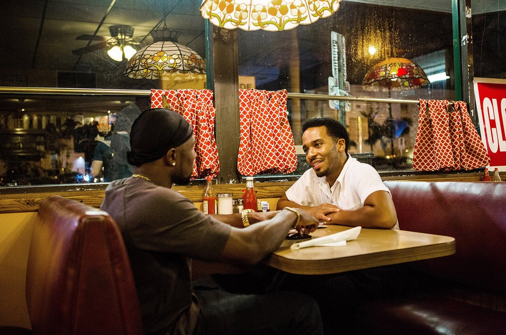 Trevante Rhodes and Andre Holland in Moonlight.