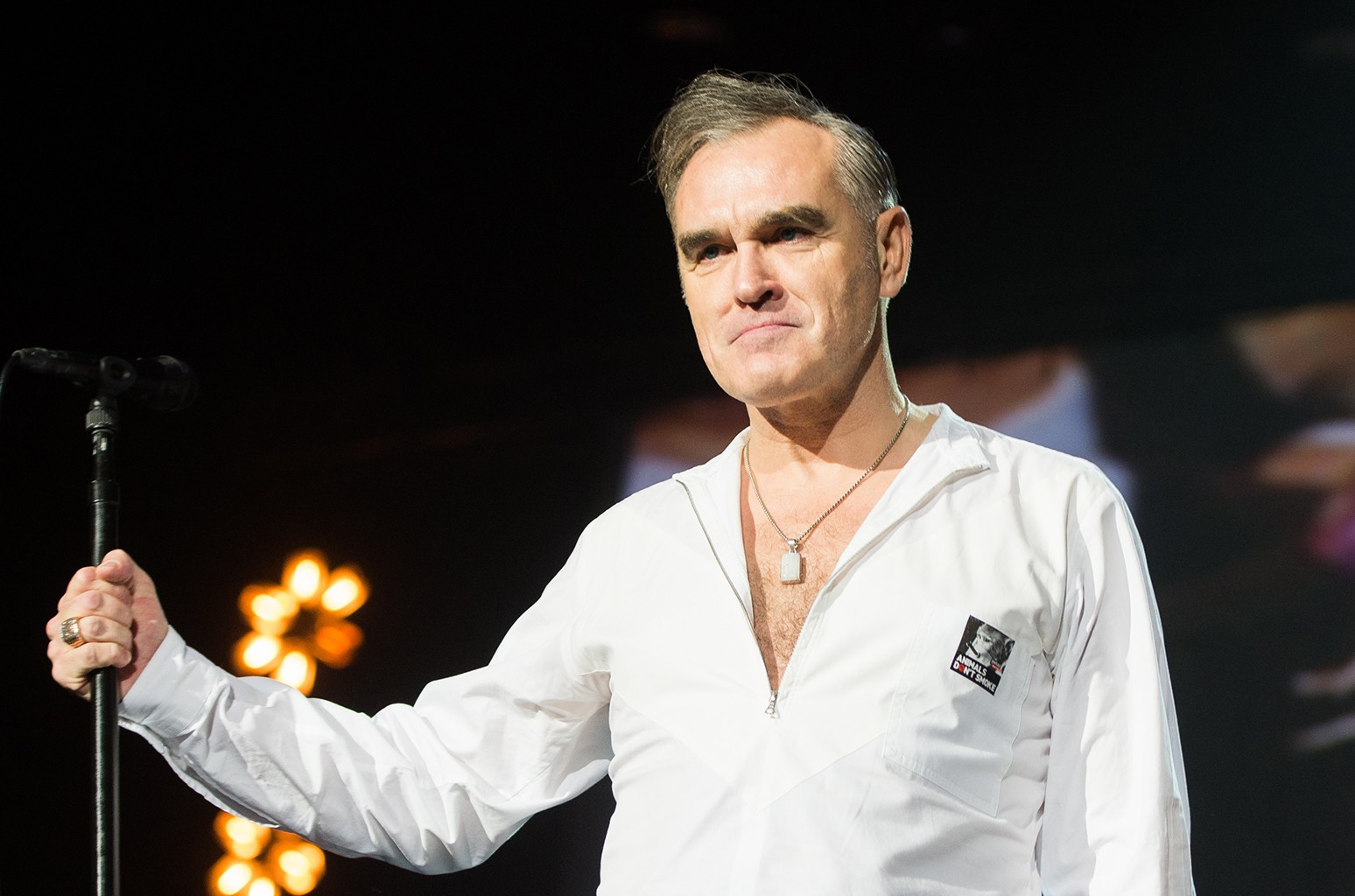 Morrissey performs live on stage at O2 Arena on November 29, 2014 in London, United Kingdom  (Photo by Samir Hussein/Redferns via Getty Images)