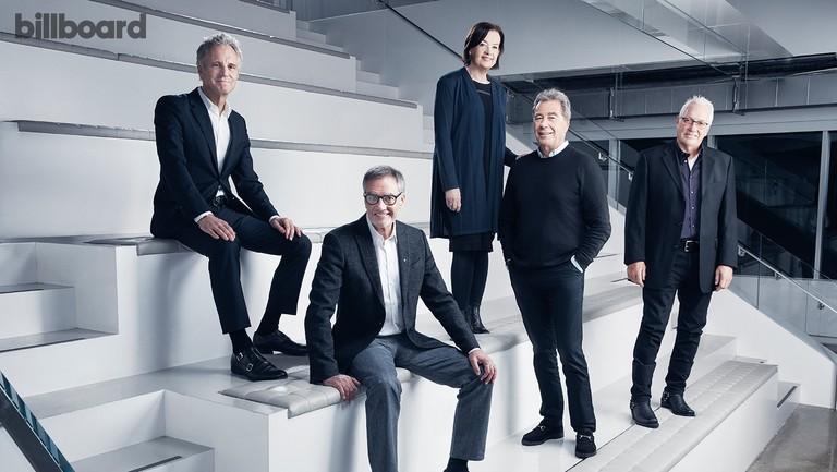 <p>From left: John Sykes, Bob Pittman, Judy McGrath, John Lack and Les Garland photographed on Jan. 26 at iHeartMedia in New York.</p>