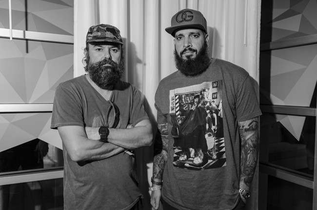 Ralph Falcon and Oscar G of Murk pose for a portrait following their interview in the Red Bull Music Academy pop-up radio station, at Red Bull Guest House