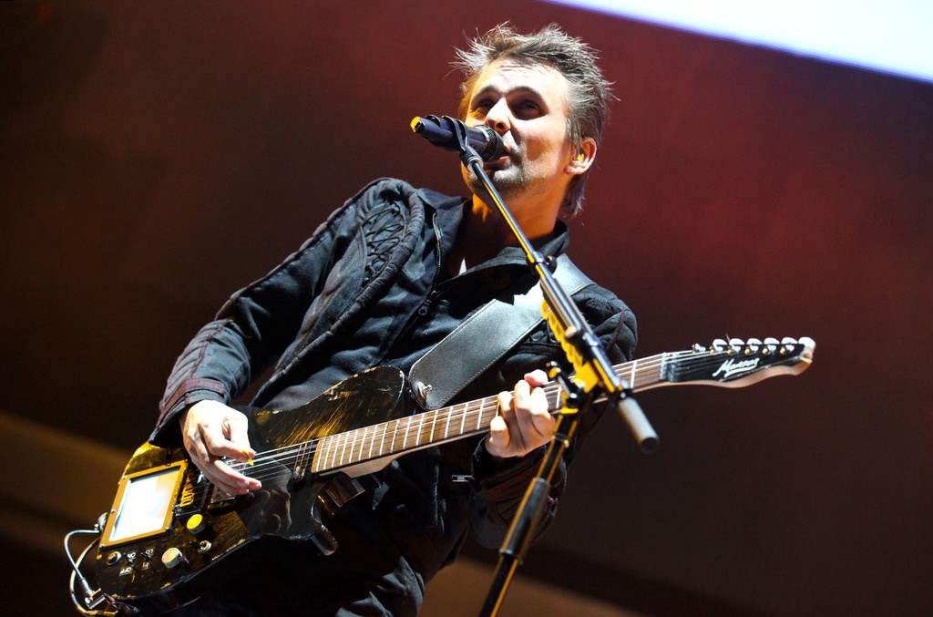 Matthew Bellamy of Muse performs at Irvine Meadows Amphitheatre on May 16, 2015 in Irvine, Calif.