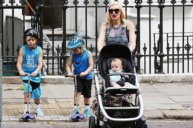 Gwen Stefani with her children Kingston Rossdale, Zuma Rossdale and Apollo Rossdale