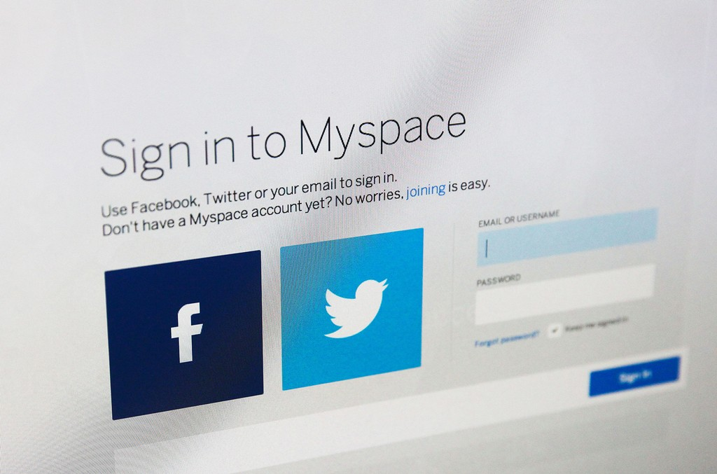 The Myspace login page