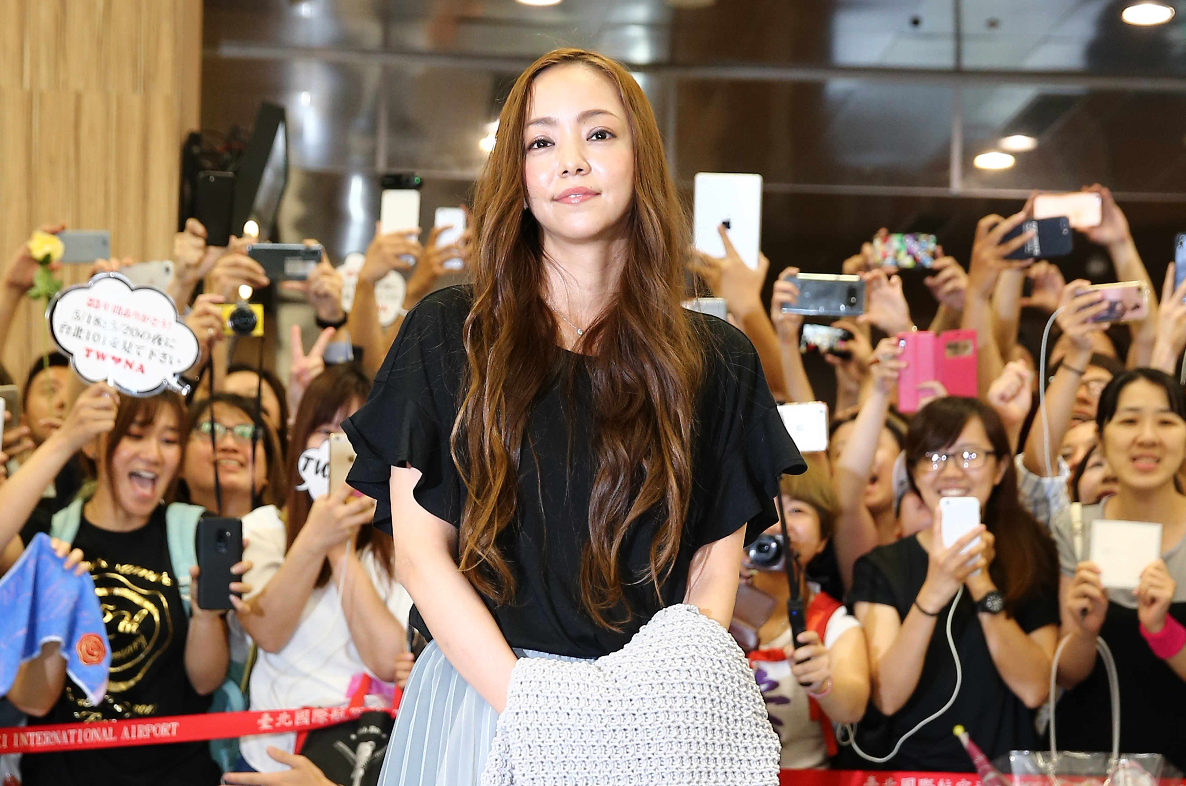 Singer Namie Amuro arrives at Taipei Songshan Airport for 'Namie Amuro Final Tour 2018 - Finally ~ in Asia' on May 17, 2018 in Taipei, Taiwan.