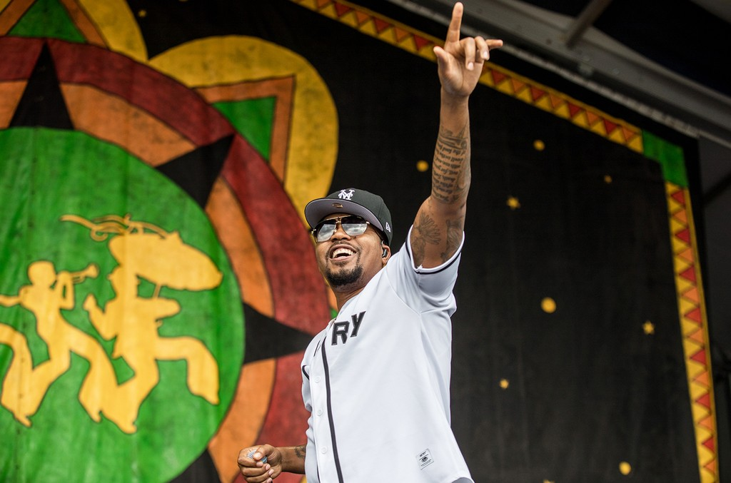 Nas performs at the New Orleans Jazz & Heritage Festival at the Fair Grounds Race Course on April 28, 2017 in New Orleans.
