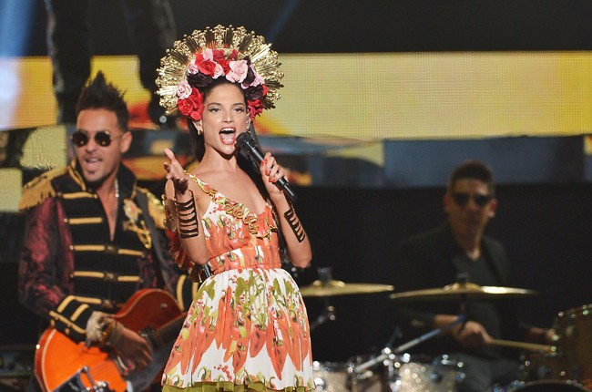 Natalia Jimenez performs onstage at the 2015 Billboard Latin Music Awards