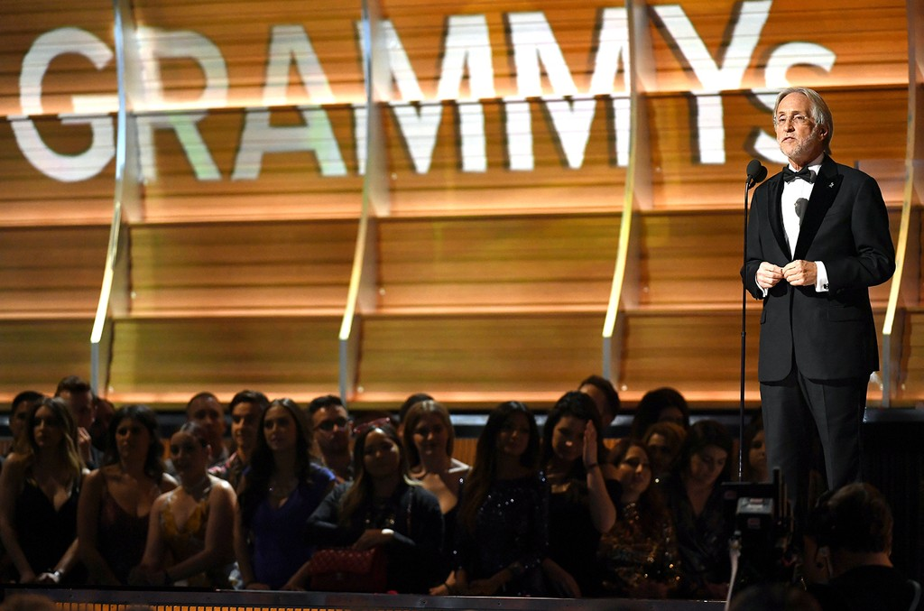 President of the Recording Academy, Neil Portnow speaks onstage during The 59th Grammy Awards at Staples Center on Feb. 12, 2017 in Los Angeles.