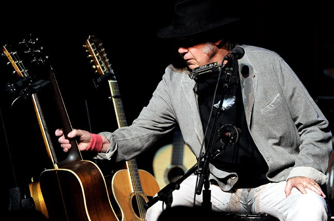 Singer/songwriter Neil Young performs at the Dolby Theatre on March 29, 2014 in Los Angeles, California.