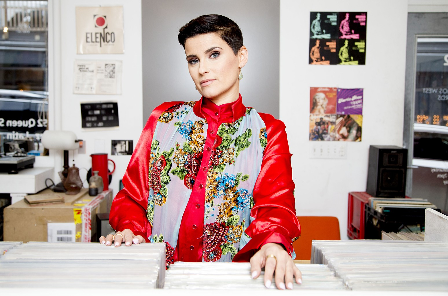 Nelly Furtado photographed at Cosmic Records.