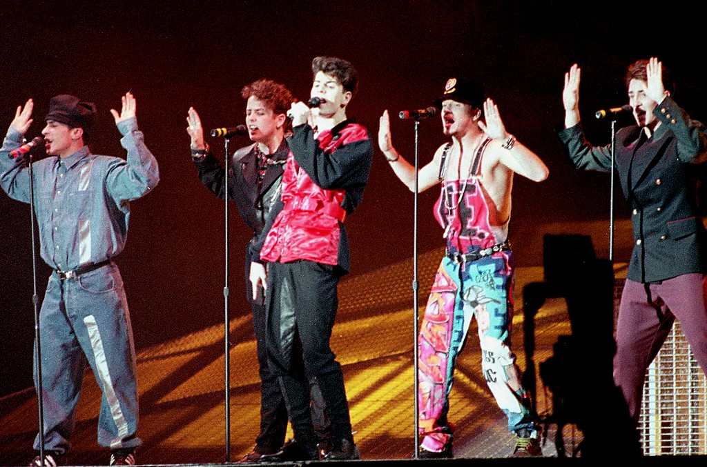 """New Kids on the Block perform their hit number """"Call It What You Want"""" as they kick off a world tour at the Tokyo Dome, Japan, on Jan. 31, 1991."""
