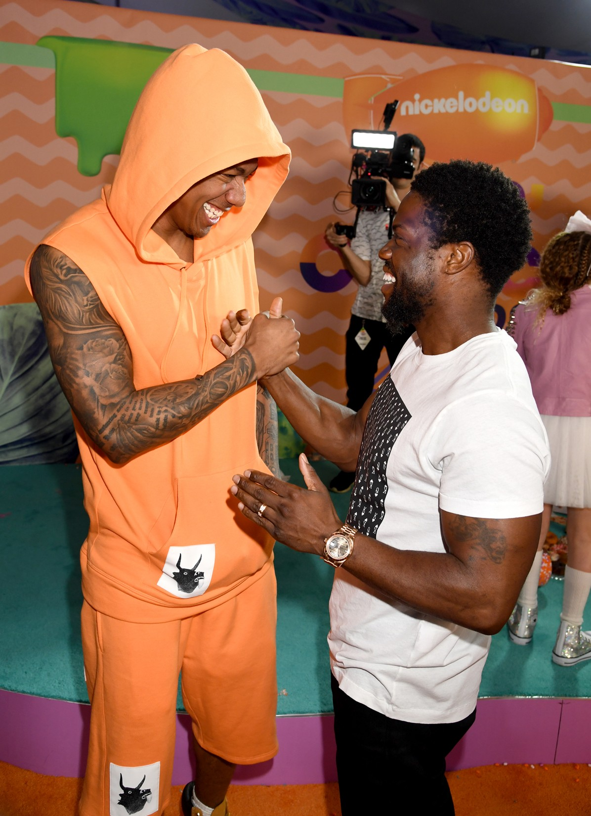 Nick Cannon and Kevin Hart at Nickelodeon's 2017 Kids' Choice Awards at USC Galen Center on March 11, 2017 in Los Angeles.