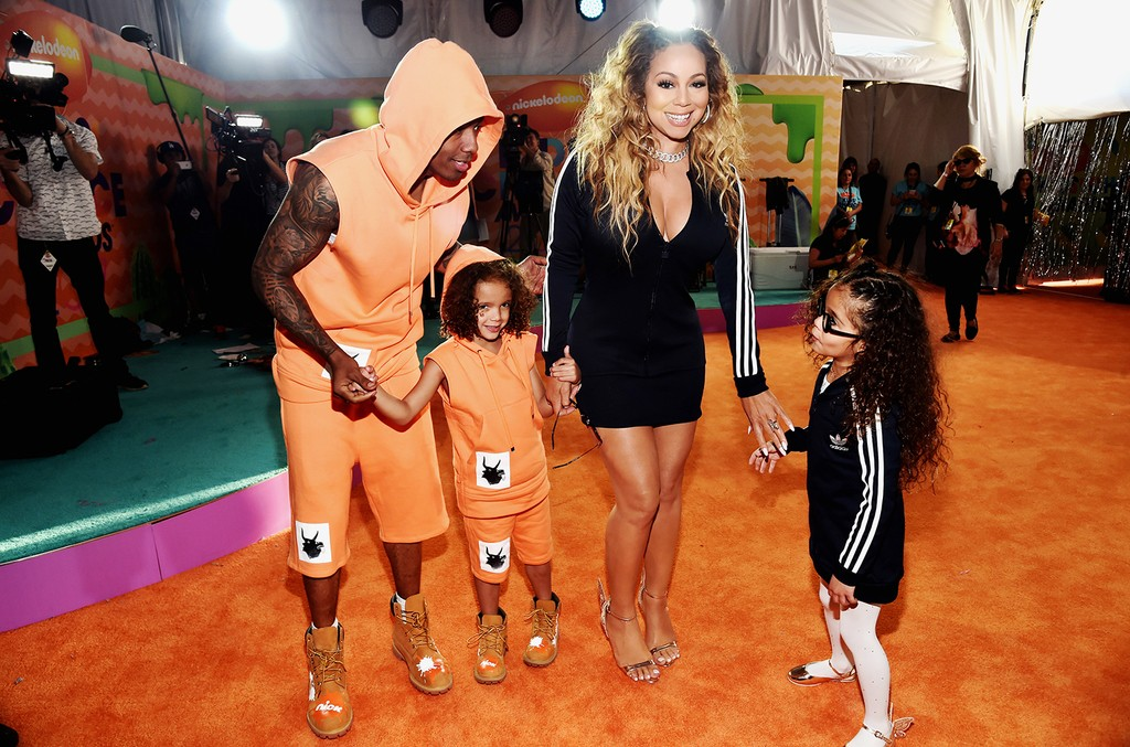 Nick Cannon and Mariah Carey with son Moroccan Scott Cannon and daughter, Monroe Cannon at Nickelodeon's 2017 Kids' Choice Awards at USC Galen Center on March 11, 2017 in Los Angeles.