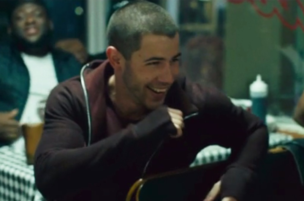 """Nick Jonas in the video for """"Bacon."""""""