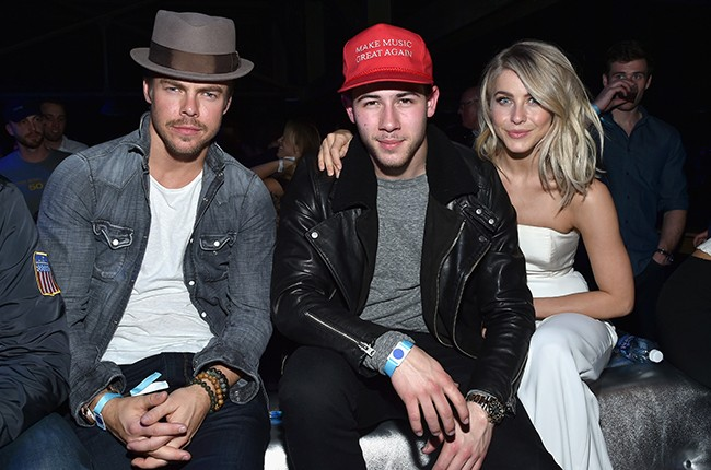 Derek Hough, Nick Jonas and Julianne Hough