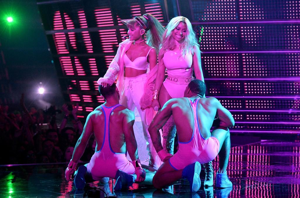Ariana Grande and Nicki Minaj perform onstage during the 2016 MTV Video Music Awards
