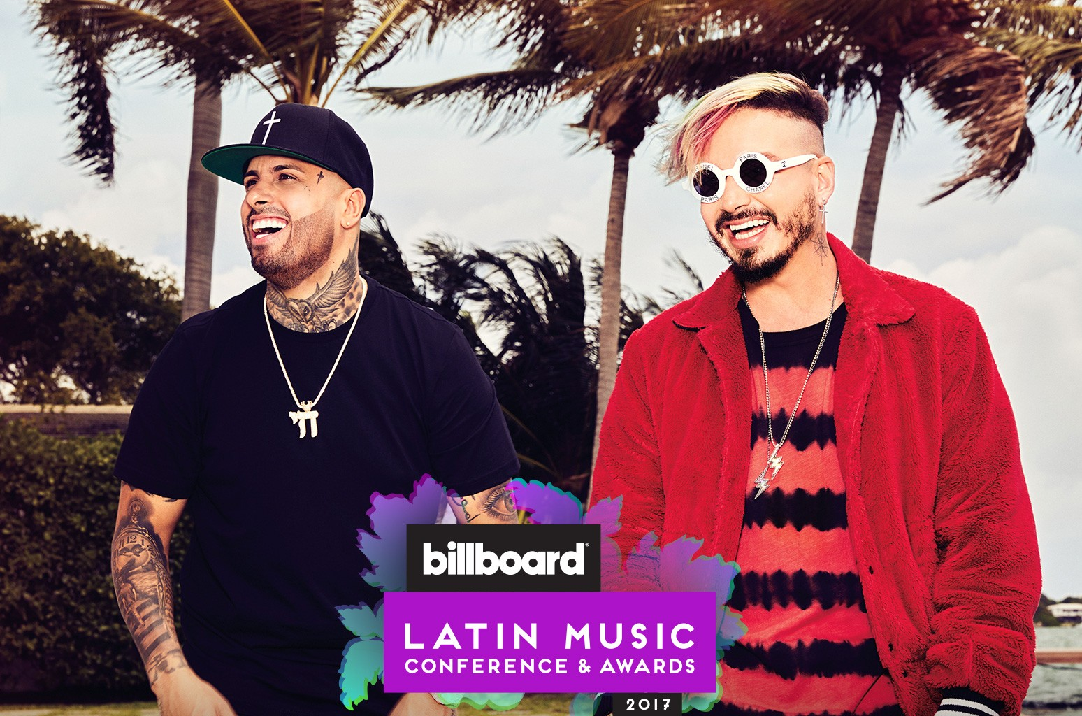 Nicky Jam and J Balvin photographed on April 17, 2017 in Miami.