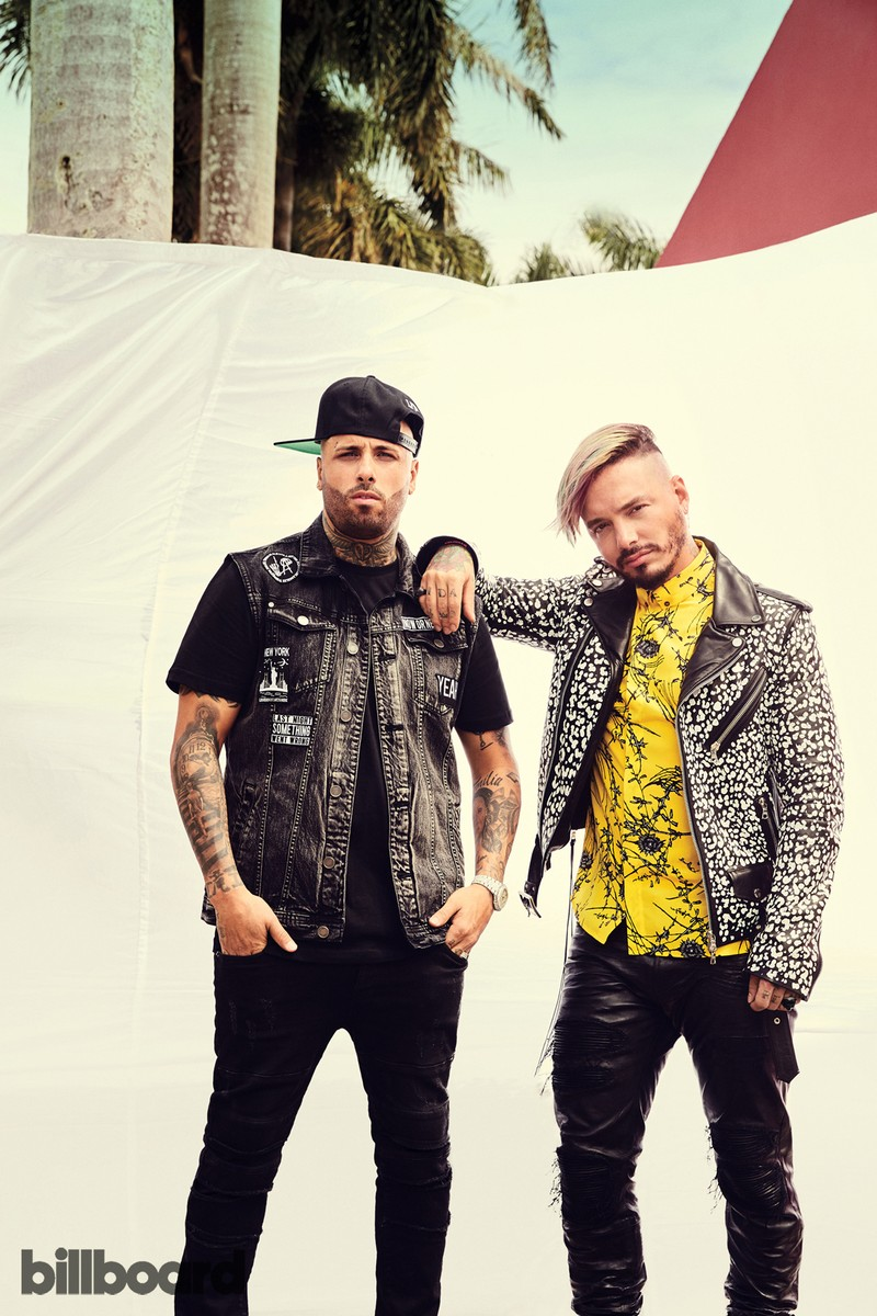 Nicky Jam (left) and J Balvin photographed on April 17, 2017 in Miami. Styling by Shannon Adducci.