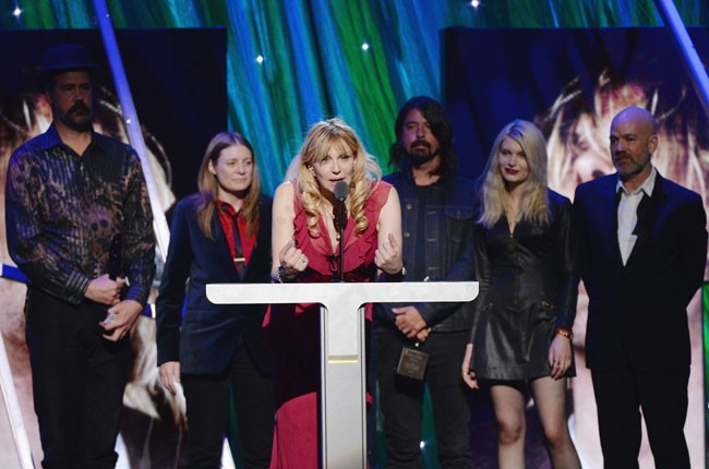 Courtney Love on stage for Nirvana's 2014 Rock and Roll Hall of Fame Induction
