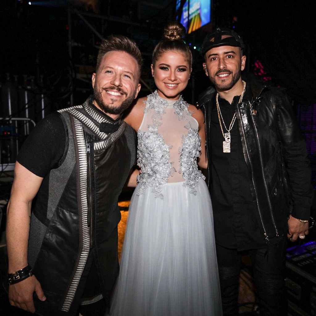 Noel of Sin Bandera, Sofia Reyes and Yandel backstage at the Billboard Latin Music Awards on April 27, 2017 in Coral Gables, Fla.